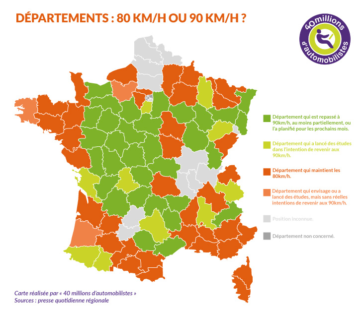Carte des départements qui repassent à 90km/h